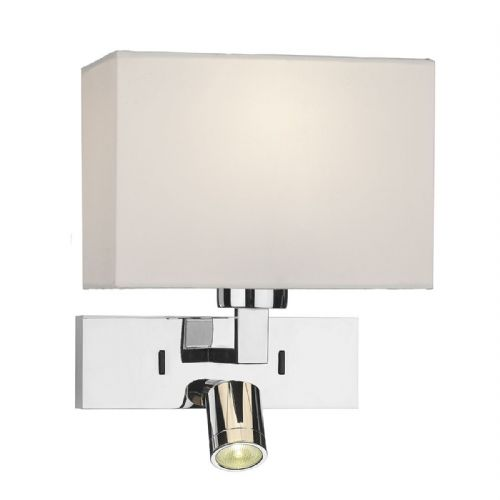 1 Light Rectangle Wall Bracket With Led Polished Chrome Base Only  (Double Insulated) BXMOD7150L-17